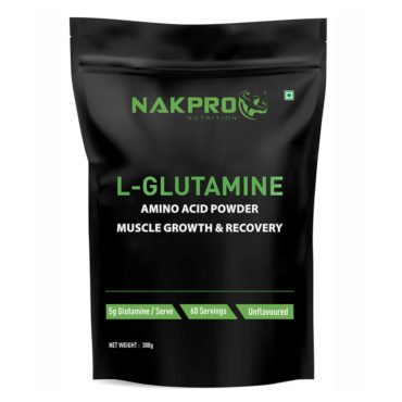 Nakpro Nutrition Advance Micronized L-Glutamine Powder For Muscle Growth and Recovery | Prevents Muscle Tissues From Breakdown - Unflavoured - 300g(60 Servings) -front