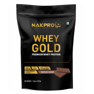 Nakpro Nutrition Gold 100% Whey Protein Powder from USA with Digestive Enzymes - Chocolate -1Kg (30 Servings)