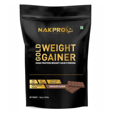 Nakpro Nutrition Gold Weight Gainer with Digestive Enzymes, Vitamins & Minerals - Chocolate -1Kg (10 Servings)-front