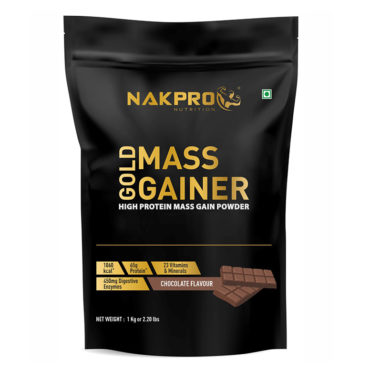 Nakpro Nutrition Gold Mass Gainer with Digestive Enzymes, Vitamins & Minerals - Chocolate -1Kg (10 Servings)