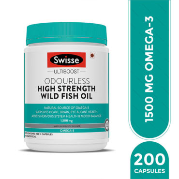Swisse Ultiboost High Strength Odrls Wild Fish Oil 1500Mg, 200 Capsules