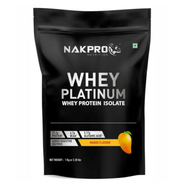 Nakpro Nutrition Platinum 100% Whey Protein Isolate Powder from USA with Digestive Enzymes - Mango - 1Kg (30 Servings)