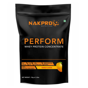 NAKPRO Nutrition Perform Whey Protein Concentrate with Added Digestive Enzymes, Raw Whey Protein Supplement Powder - Mango - 1kg (30 Servings)