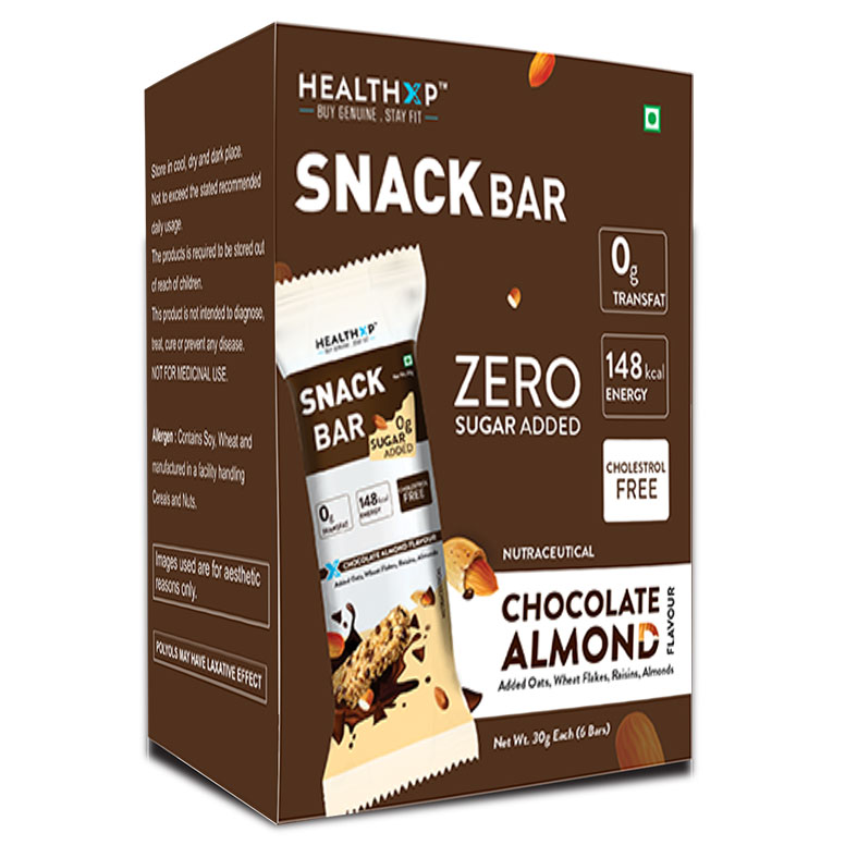 Healthxp Snack bar pack of 6 Chocolate Almond-4