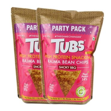 Tubs Natural Plant Protein Rajma Smoky BBQ 120gm Pack of 2..