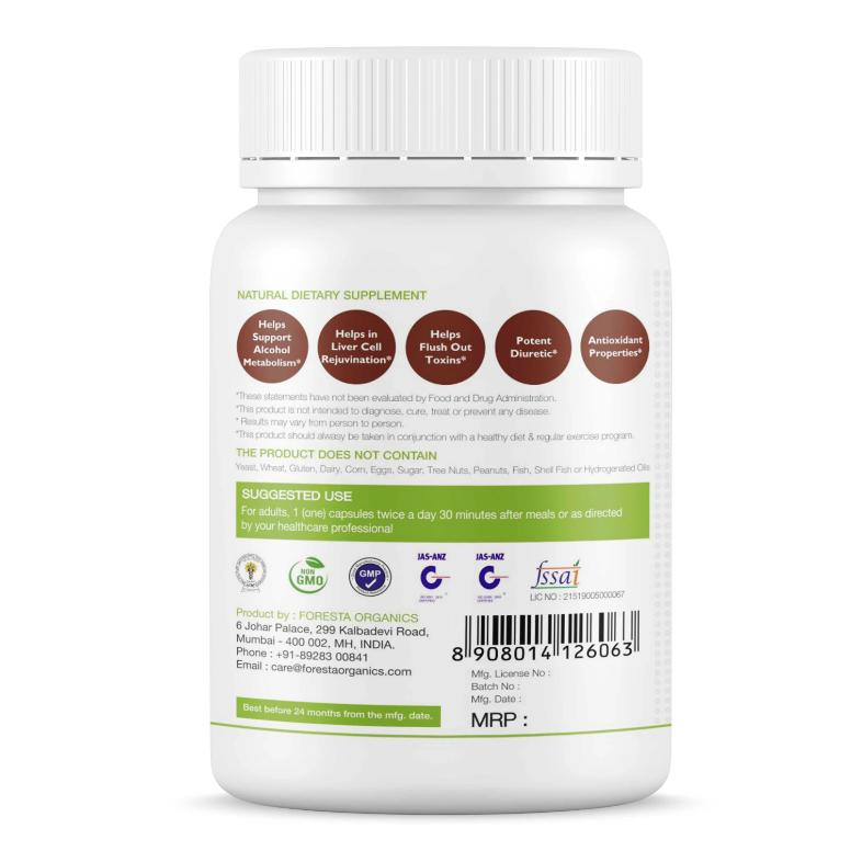 Foresta Organics Liver Detox with Milk Thistle Extract (Silymarin), Dandelion & Multi-Vitamins back 2