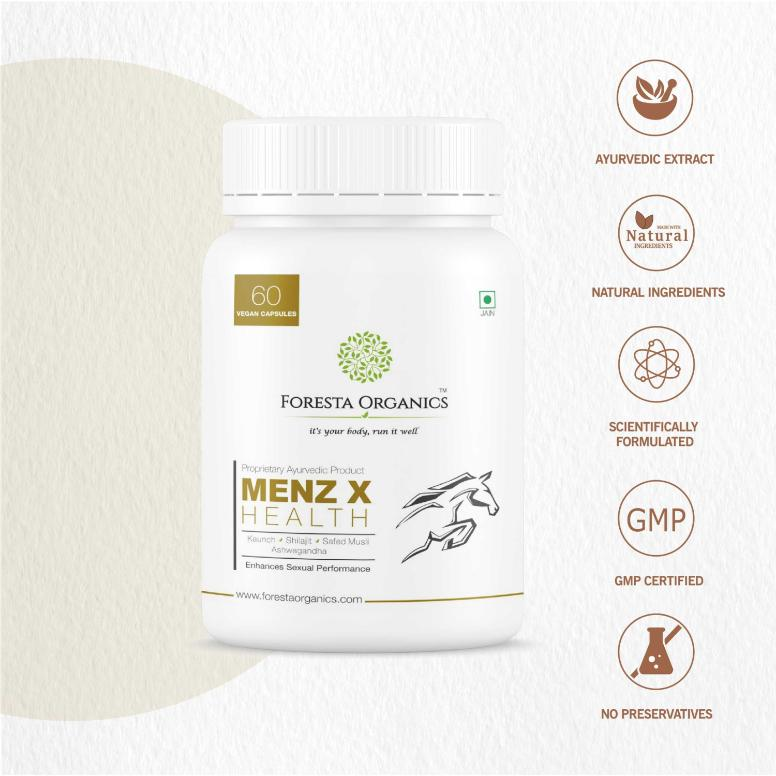 Foresta Organics Menz-X Health with Shilajit, Ashwagandha, Kaunch & Safed Musli 60 Capsules key features