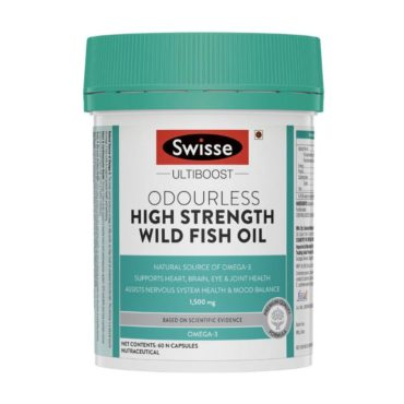 Swisse Ultiboost Odourless High Strength Wild Fish Oil 1500mg 60 Capsules
