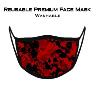 GymX Fire Red Camo Premium Face Mask (Reusable) front
