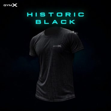 GymX Historic Black Tee Cool Tech Series Front
