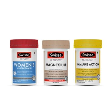 Women Health Combo-SWISSE WOMENS Multivitamins 60 Tablets , Magnesium 60 Tablets & Immune Action- 60 Tablets front