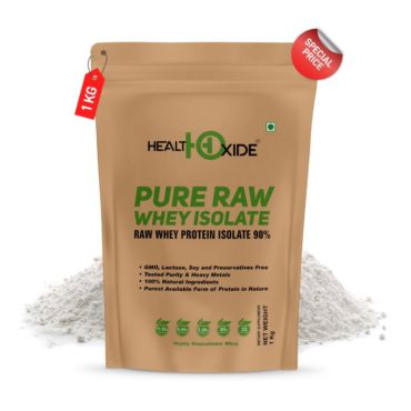 HealthOxide Pure Raw Whey Protein Isolate 1kg Unflavored1