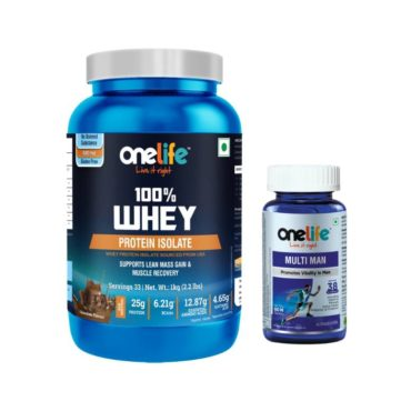 OneLife 100% Whey Protein Isolate Chocolate 1kg + FREE Onelife Multiman 60 tablets