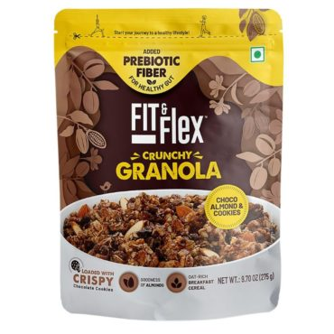 Fit & Flex Granola Oat Rich Breakfast Cereal with Real Fruits Choco Almond & Cookies 275gm