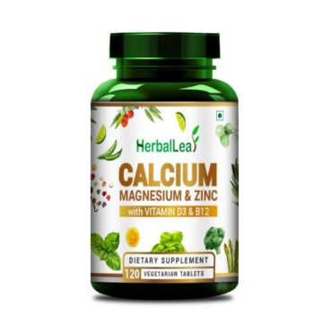 HerbalLeaf Calmazin with Calcium Magnesium Zinc Vitamin D3 & B12 120 Tablets