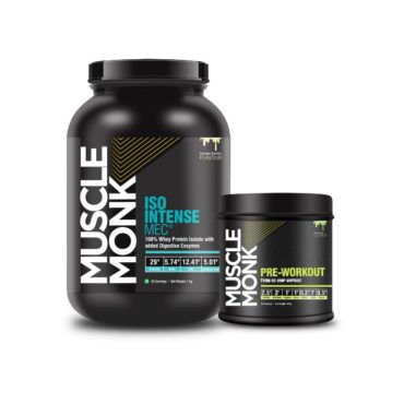 Muscle Monk Combo of ISO Intense MEC® 100% Whey Isolate Protein with Digestive Enzymes - Royal Chocolate 1 KG   with Pre-Workout Green Apple, 30 Servings, 300g