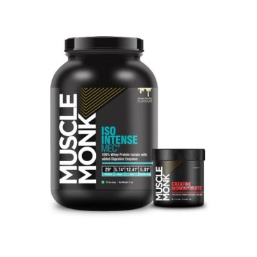 Muscle Monk Combo of ISO Intense MEC® 100% Whey Isolate Protein with Digestive Enzymes - Creamy Vanilla 1 KG   with Creatine Monohydrate 100g unflavoured