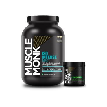 Muscle Monk Combo of ISO Intense MEC® 100% Whey Isolate Protein with Digestive Enzymes - Creamy Vanilla 1 KG   with L-Glutamine 100g unflavoured