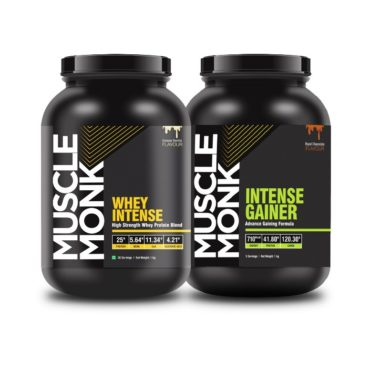 Muscle Monk Highly Advanced Intense Whey Protein 1kg with 1KG Intense Mass Gainer with 120.3 G Carbs   710 kcal   41.8 G protein