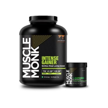 MuscleMonk Intense Gainer - Royal Chocolate 3 kg with L-Glutamine 100g unflavoured