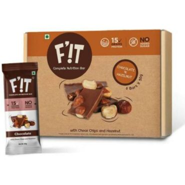 F'iT Nutrition Bar Chocolate with Hazelnut 300gm (Pack of 6)